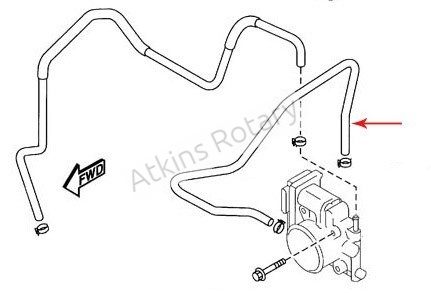 04-08 Rx8 Throttle Body to Rear Housing Coolant Hose (N3H1-13-691)
