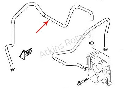 04-11 Rx8 Thermostat to Throttle Body Coolant Hose (N3H1-13-692)